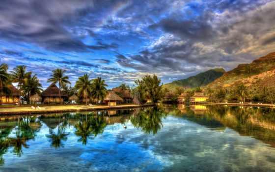 reki, река, озера, природа, домики, trees, пальмы, отражение, острова,