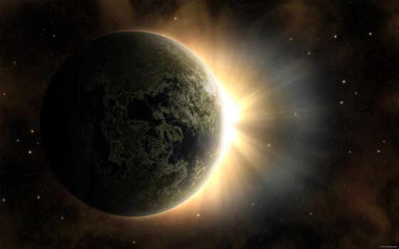 рассвет, sun, звезды, land, planet, солнца, time, луна, восхода,