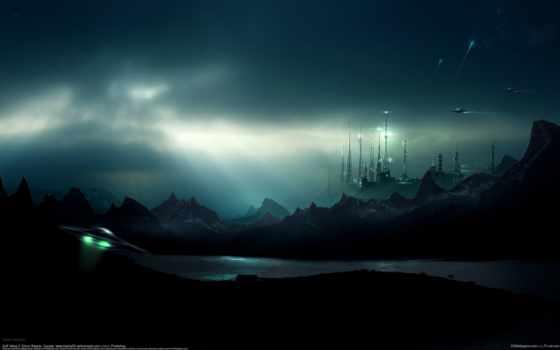 ufo, долина, scifi, стиле, box, фантастика, небо,