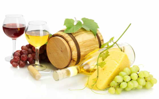 вино, белое, красное, бокалы, бочки, бутылка, виноград, сыр,