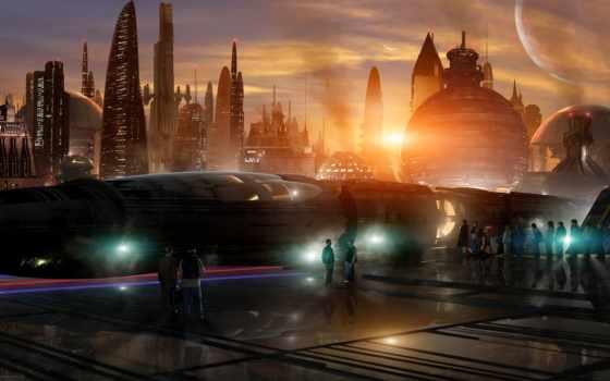 поезд, станция, sci, город, мегаполис, deviantart, луны,