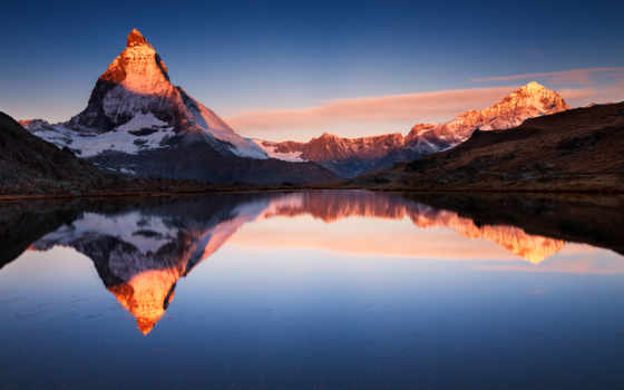 горы, гора, маттерхорн, cvety, полевые, языке, ios, apple,