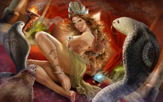 девушка, картинка, змеи, змеями, картины, devushki,