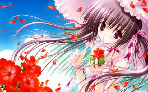anime, pink, eyes, flower, tinkle, art, flowers, umbrella, ribbons, with, hair, category, sakura, umbrellas, brunettes,
