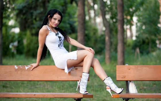 платье, белом, девушка
