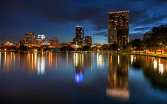 сша, florida, ночь, orlando, города, побережье, usa, water, дома,