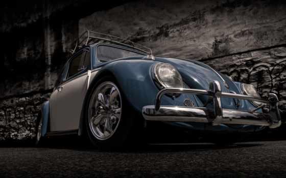 car, volkswagen, vw, vintage, жук, стена, art, cars,