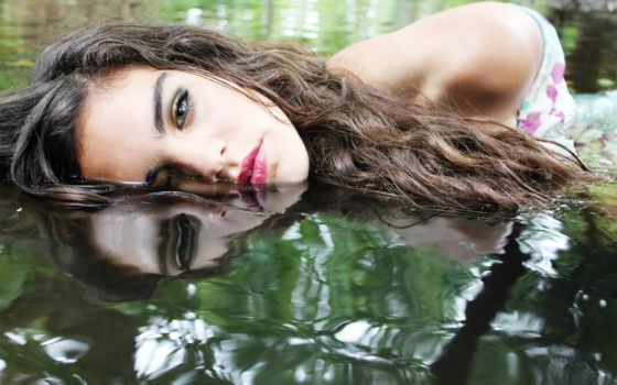 девушка, water, волосы, отражение, грустная, воде, грустные, макияж, под, рисунок,