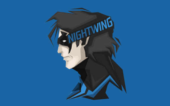 nightwing, minimal, blue, headshot, comics, супергерой, рубашка,