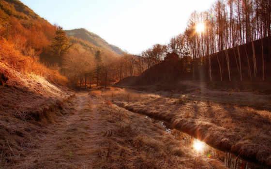 горы, пейзаж, утро, изображение, туман,