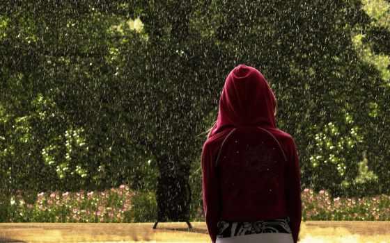 девушка, капюшоне, спинои, дождь, капюшон, нужный, солнечный,