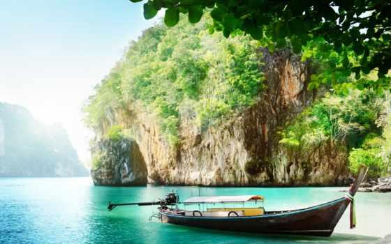 море, острова, лодка, небо, sun, остров, thai, пхукет,