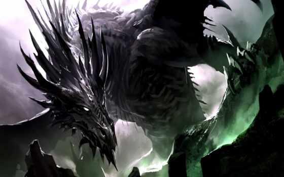 дракон, лед, black, images, огонь,