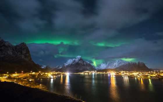 северное, сияние, lofoten, острова, norwegian, islands, лофотенские, northern, ночь, огни, норвегия,