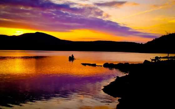 закат, закате, одинокий, озере, лодочник, небо, силуэт, multicolored,