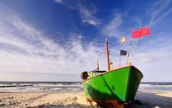 море, лодка, песок, пляж, берег, oblaka, waves, лодки, surf,