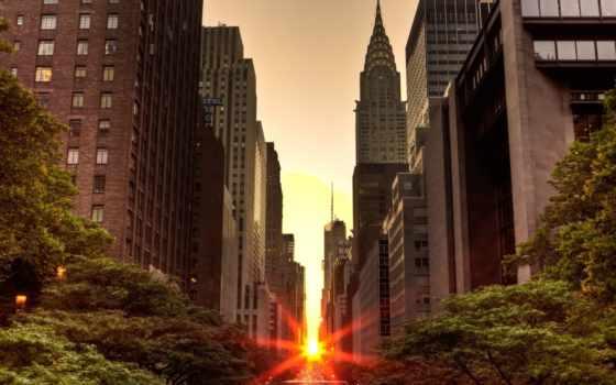 нью, йорке, rising, солнца, new, york, sun, город, сша, chrysler,