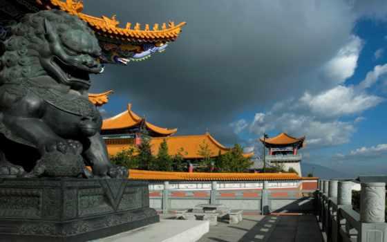 китаянка, храм, дракон, арка, города, архитект, небо, дома, старинная,