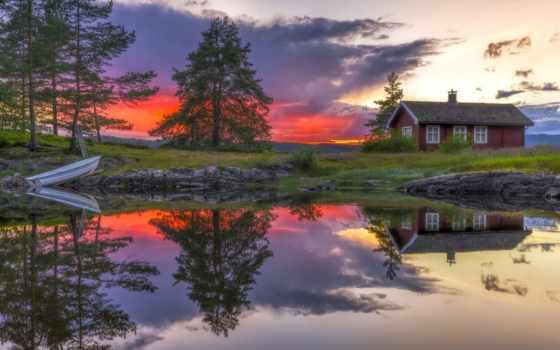 лодка, озеро, art, norwegian, норвегия, красивые, отражение, ringerike, trees, закат, house,