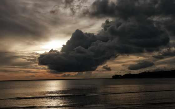 небо, тучи, море