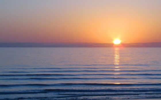 рассвет, море, sun, утро, waves, гладь, water, color,