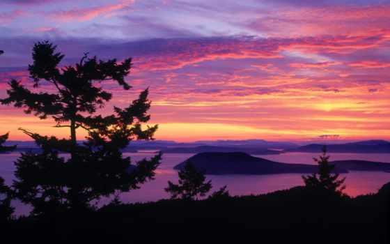 soleil, coucher, ciel, images, paysage, фиолетовый, dans,