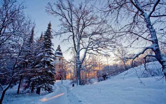 winter, trees, свет, снег, природа, church, красивые,