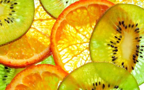 фрукты, апельсины, киви, еда, сочные, оранжевый, красивые, высоком,