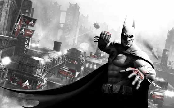 batman, arkham, city, бэтмен, кулак, готэм, кровь, дирижабль,
