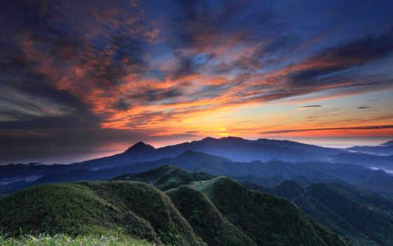 вечер, небо, закат, горы, синее, облака, оранжевый, холмы, height,