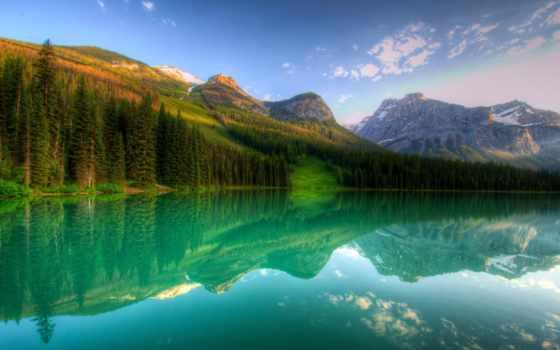 йохо, канадский, yoho, park, national, озеро, лес, канада, горы, снег,