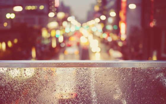 дождь, красивые, городе