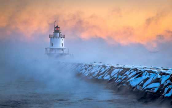 lighthouse, утро, иней, рассвет, теме, south, portland, море, pier, desktop,