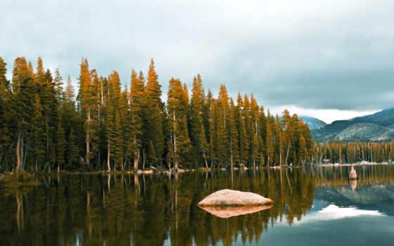 озеро, природа, камень, shine, деревьев, заката, верхушки,