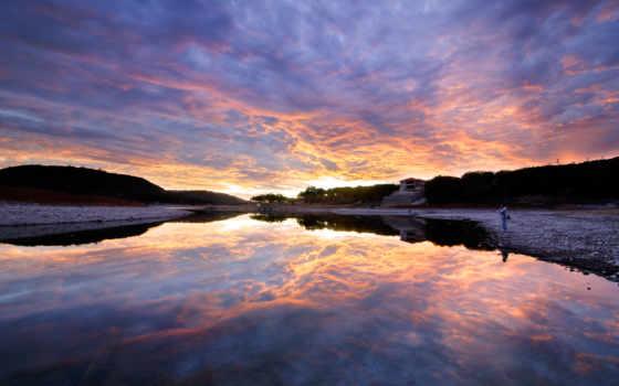 озеро, texas, travis, austin, рассвет, рыбалка, full, search,