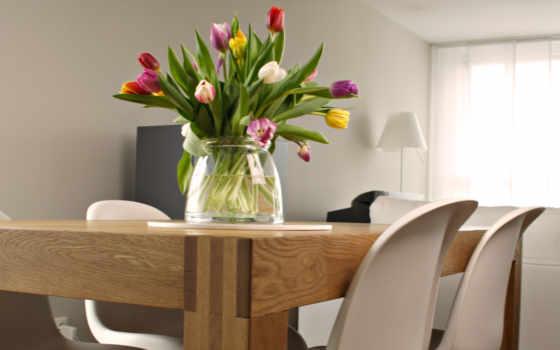 тюльпаны, ваза, столе, picsfab, картинка, and, природа, фабрика, картинок, en, las, blanco, изображение, luz, natural,