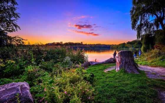 пейзажи -, коллекция, озеро, landscape, деревья, загрузок, мужчины, рыбаки,