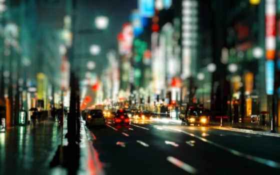 огни, дорога, улица, город, города, ночь, ночного, яркие, вечерняя,