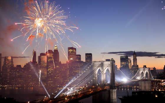 салют, new, fireworks, американский, york, нью, usa, бруклин, мост,