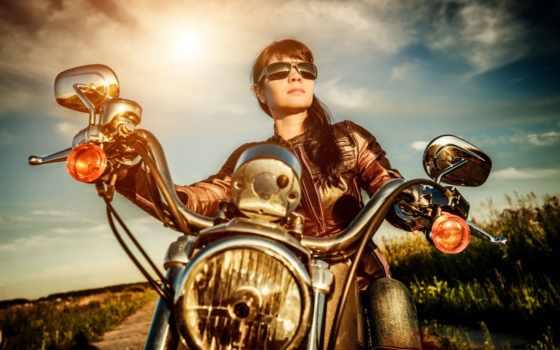 девушка, анимация, biker, едет, очках, анимации, солнцезащитных, гиф, мотоцикле, байке,