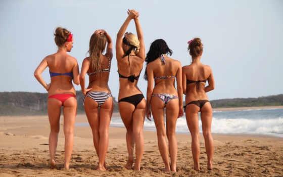 попки, сочные, пляж