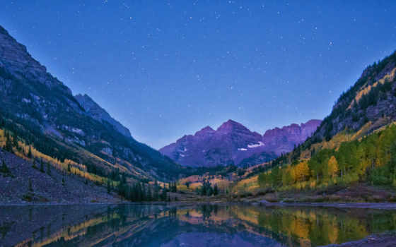 озеро, peak, colorado, склянки, aspen, бардовый, alpenglow,