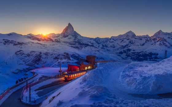 swiss, горы, альпы, alcatel, winter, gornergrat, железный, станция, sun,