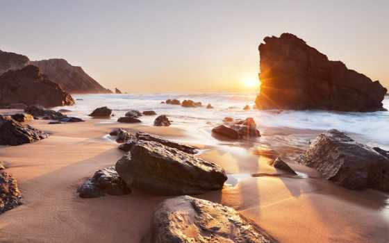 португалия, ocean, sintra, португалии, adraga, praia, скалы, закат, океана,