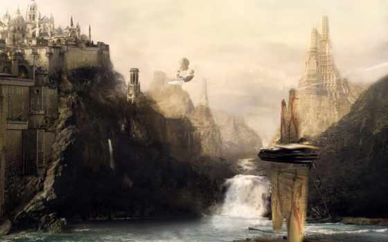 fantasy, art, castle, scenery,