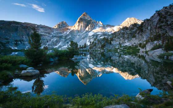 природа, гора, озеро, отражение, небо,