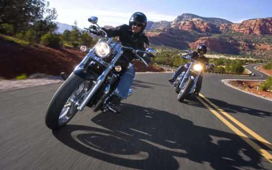 мотоцикл, harley, дорога