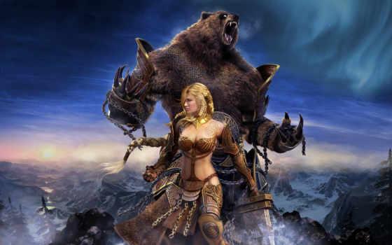 девушка, глаз, фэнтези, медведь, wars, north, guild,