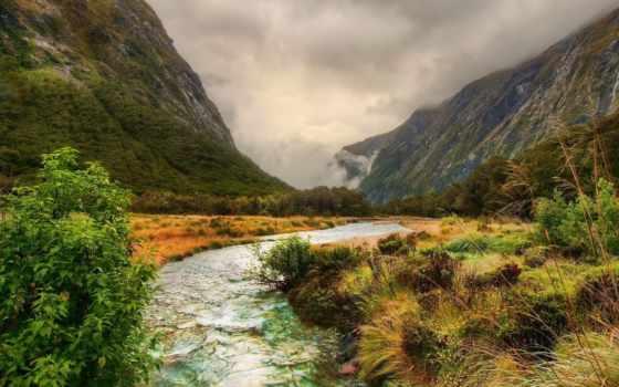 река, горы, горные