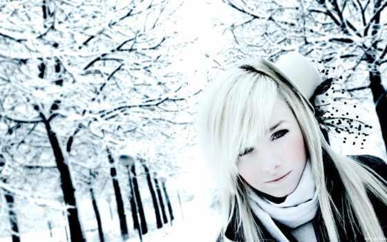 blonde, девушка, winter, зимой, ивана, trees, блондинок, park, laura, снег, красивых,